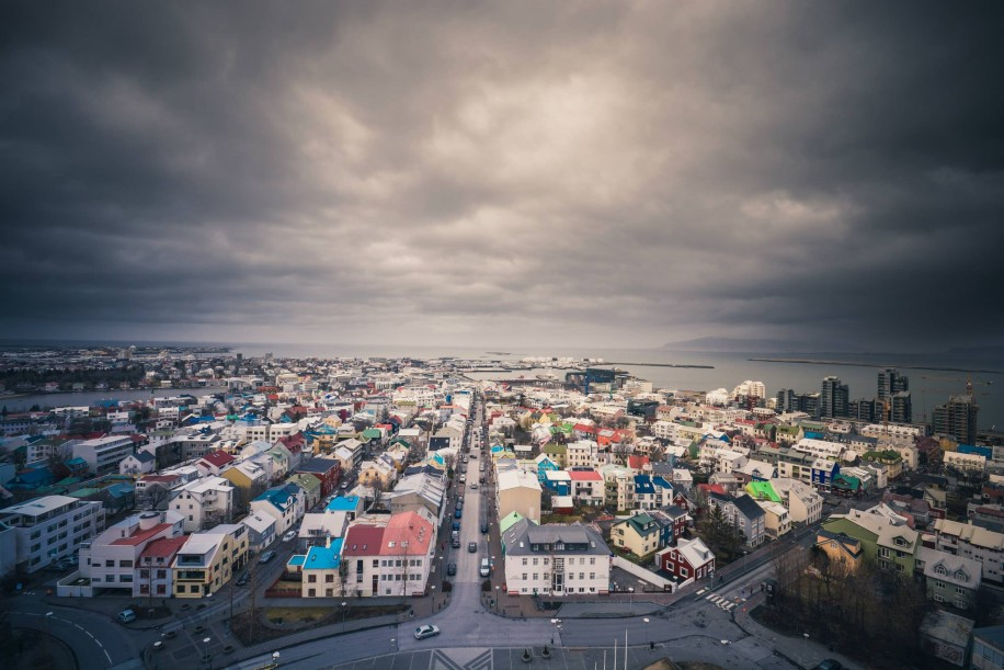 Cloudy Day with town and houses