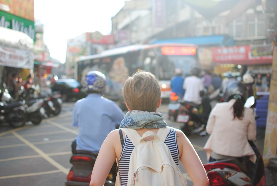 Woman traveling alone in different country